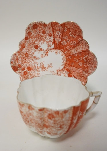 FINELY DECORATED ENGLISH CUP AND SAUCER. W & C. SAUCER 6 � IN