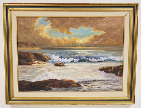 MARY ADRIAN OIL PAINTING ON CANVAS OF A ROCKY SHORELINE AND SUNLIGHT PEERING THR