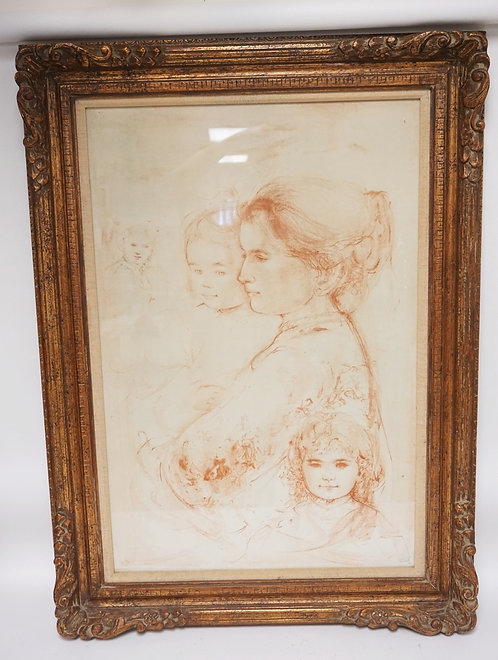 EDNA HIBEL PENCIL SIGNED AND NUMBERED LIMITED EDITION PRINT OF A WOMAN AND CHILD