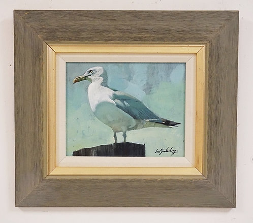 STANLEY M. ZUCKERBERG (1919-1995) OIL PAINTING ON BOARD OF A PERCHED SEAGULL. SI