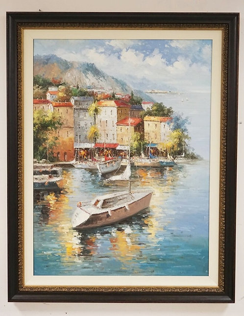 CONTEMPORARY OIL PAINTING ON CANVAS OF BOATS BY A CONTINENTAL CITY SHORE. 35 1/2
