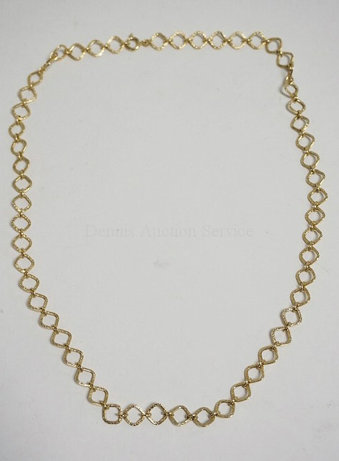 14K GOLD CHAIN LINKED NECKLACE. 14.6 DWT.