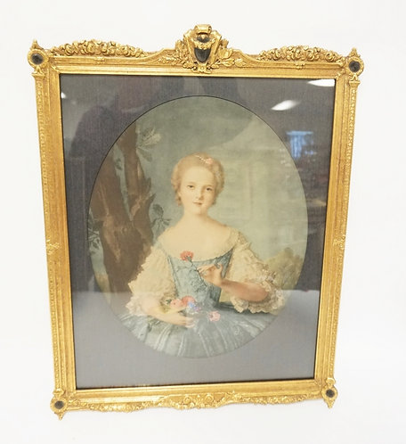 WATER COLOR OF A VICTORIAN WOMAN HOLDING FLOWERS IN AN ORNATE GILT FRAME. IMAGE