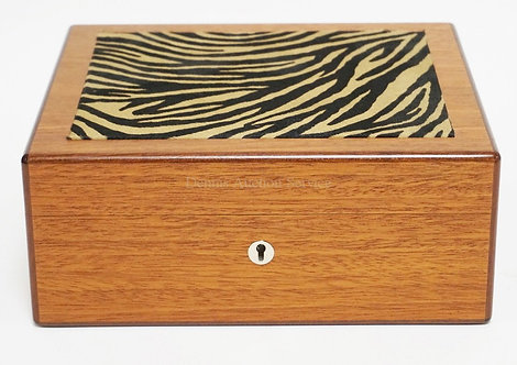 HERMES PARIS WOODEN JEWELRY BOX WITH A FAUX ZEBRA FUR TOP. LIFT OUT TRAY INTERIO