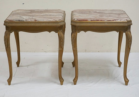 PAIR OF CARVED AND GOLD GILT MARBLE TOP TABLES. 25 1/2 INCHES SQUARE. 29 INCHES