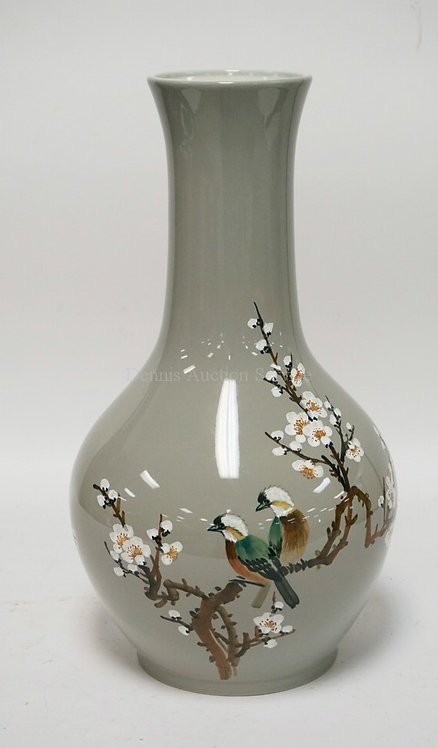 LARGE ASIAN PORCELAIN VASE DECORATED WITH BIRDS AND FLOWERING BRANCHES. 18 1/4 I