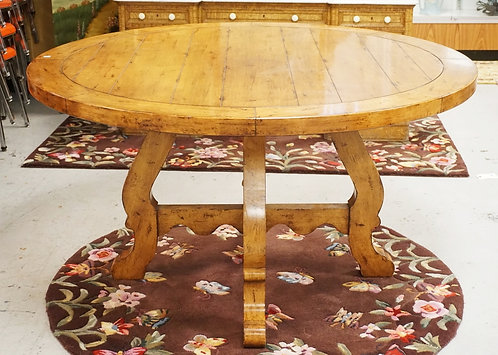 ROUND DINING TABLE BY CENTURY. 54 INCH DIA. 30 INCHES HIGH. UNMARKED.