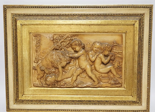 AFTER BERTEL THORVALDSEN PLAQUE IN RELIEF DEPICTING CHILDREN WITH GRAPES PLAYING