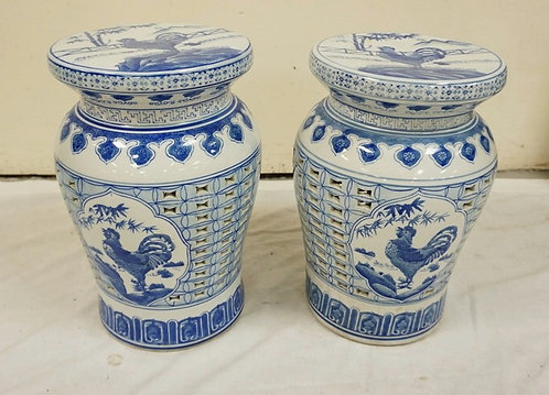 PAIR OF BLUE AND WHITE GARDEN SEATS WITH ROOSTERS AND RETICULATED SIDES. 15 1/2