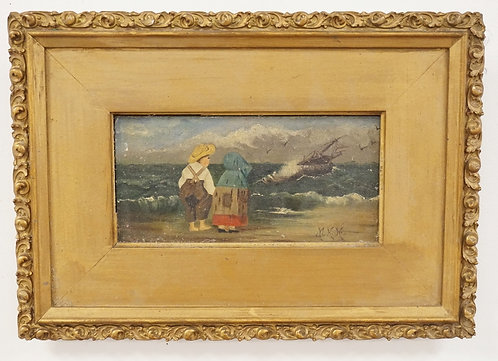 ANTIQUE OIL PAINTING ON BOARD OF A SHORE SCENE DEPICTING A COUPLE STANDING ON TH