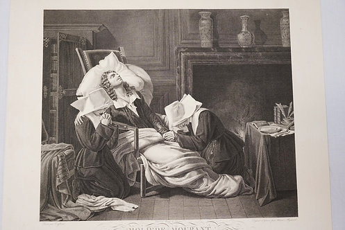 1286_ENGRAVING TITLED *MOLIERE MOURANT*. 20 X 19 INCH IMPRESSION.