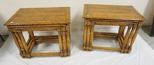 2 SETS OF NESTING TABLES. 28 INCHES WIDE. 22 1/2 INCHES HIGH.