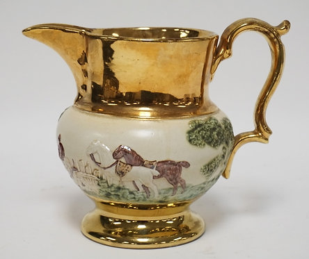 BOURNE DENBY DERBY GOLD LUSTRE PITCHER. 7 INCHES HIGH.