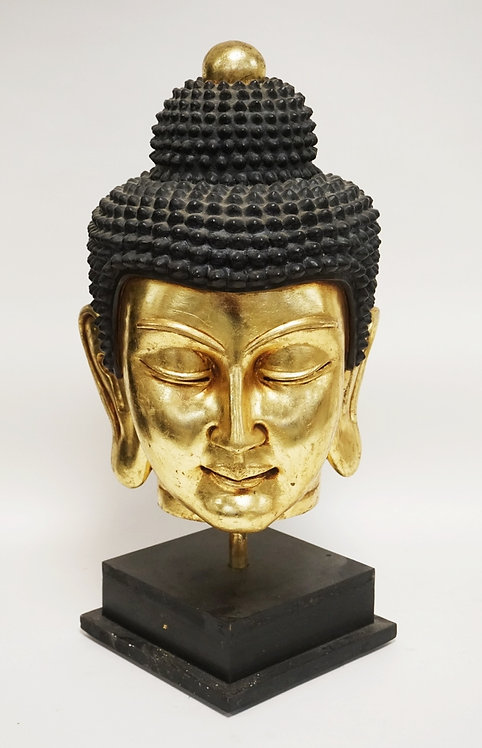 RESIN BUDDHA HEAD SCULPTURE. 24 INCHES HIGH.