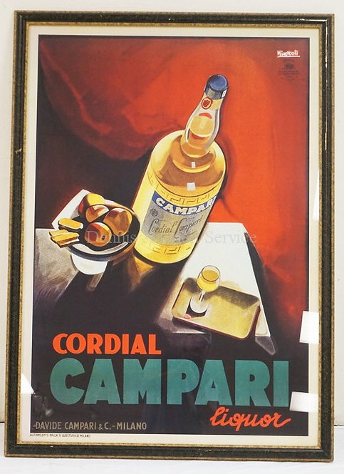 LARGE CAMPARI LIQUOUR POSTER. 57 1/2 X 41 1/2 INCHES.