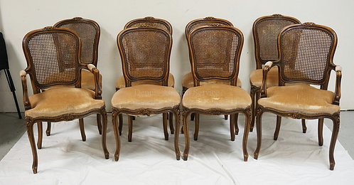 SET OF 8 DINING CHAIRS WITH FRENCH STYLE CARVED WALNUT FRAMES AND CANED BACKS. 3