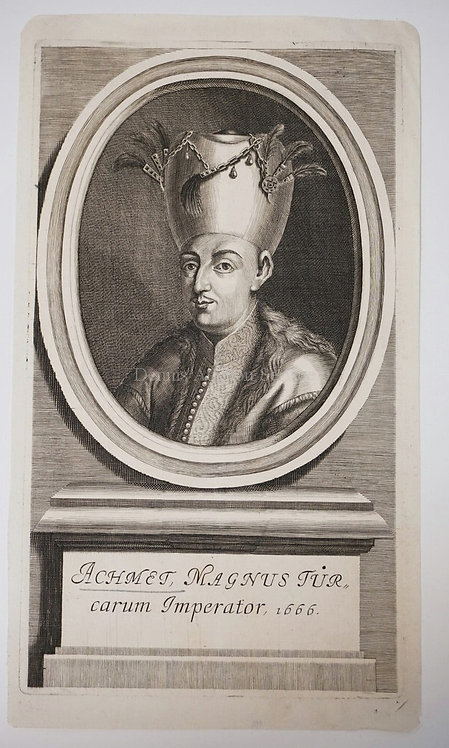 ENGRAVING *ACHMET, MAGNUS TURCARUM IMPERATOR* BY AN UNKNOWN ARTIST. 7 1/2 IN X 1