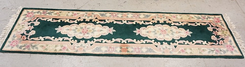 CHINESE SCULPTED RUNNER/RUG IN COBALT GREEN AND DECORATED WITH FLOWERS. 2 FT 7 I