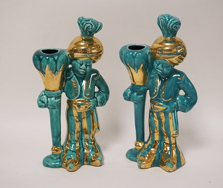 PAIR OF MID CENTURY BLACKAMOOR FIGURES IN A TURQUOISE GLAZE WITH GOLD TRIM. 9 IN