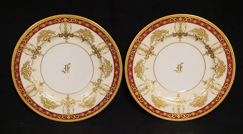 LOT OF 2 LENOX SERVICE PLATES DECORATED IN GOLD ENAMEL. FROM THE SERVICE OF KING