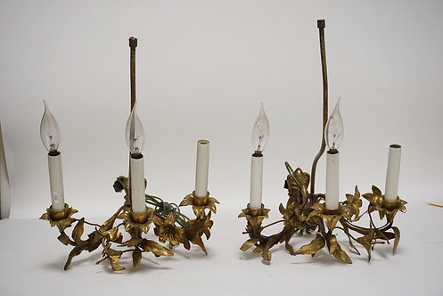 PAIR OF BRASS SCONCES HAVING METALWORK IN THE FORM OF FLOWERS AND LEAVES. EACH W