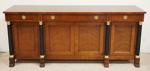 KINDEL MAHOGANY SIDEBOARD WITH MARBLEIZED COLUMNS AND BRASS MOUNTS. CARVED PAW F