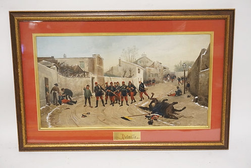 EDOUARD DETAILLE CIVIL WAR PRINT. FRAMED AND MATTED. 25 3/4 X 17 INCH FRAME,