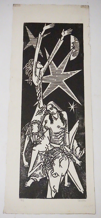 PIERRE COURTIN (1921) PENCIL SIGNED AND NUMBERED PRINT. EDITION #1/5. 12 5/8 X 4