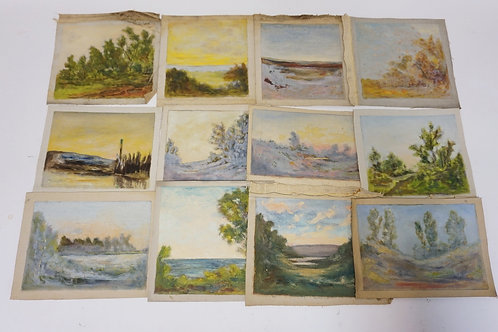12 PIECE LOT OF SCENIC OIL PAINTINGS ON CAVAS. UNSIGNED. LARGEST IS 9 X9 INCHES.