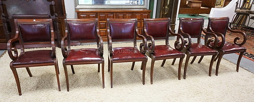 SET OF 6 MAHOGANY ARMCHAIRS WITH RED LEATHER SEATS AND BACKS.