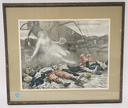 FRENCH WAR POSTER MY FLAMENG. 20 1/4 X 17 1/2 INCHES.