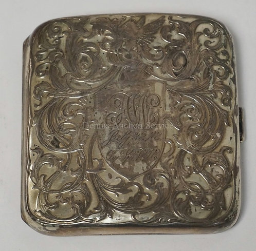STERLING SILVER CIGARETTE CASE. 2.65 TROY OZ. 3 1/4 X 3 1/8 INCHES. ENGRAVED WIT