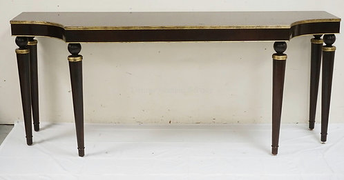 BAKER FURNITURE CONSOLE TABLE WITH GOLD ACCENTS. 84 INCHES WIDE. 34 INCHES HIGH.