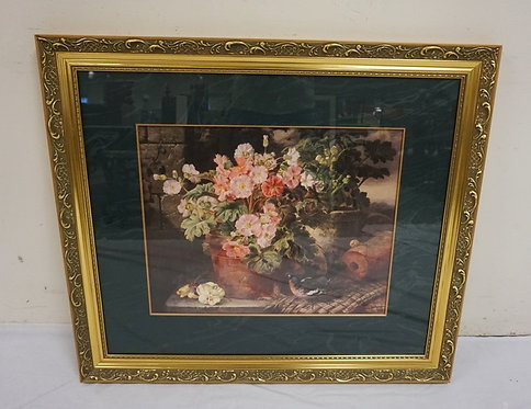 FLORAL STILL LIFE PRINT WITH BIRD BY JOHN WAINRIGHT. IN A GILT FRAME WITH FAUX M