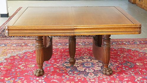 RARE AND EXCEPTIONAL TAMBOUR ROLL TOP OAK DINING TABLE. CARVED BASE. EACH SIDE P