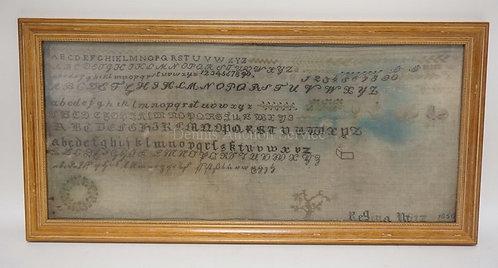 ANTIQUE SAMPLER SIGNED REGINA WITZ? 1850. 30 X 14 1/2 INCHES.