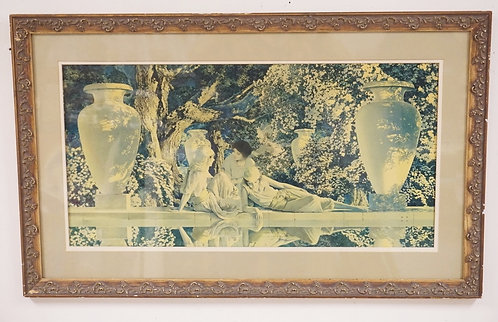 MAXFIELDPARRISH LARGE GARDEN OF ALLAH. REFRAMED. 14 X 29 IN