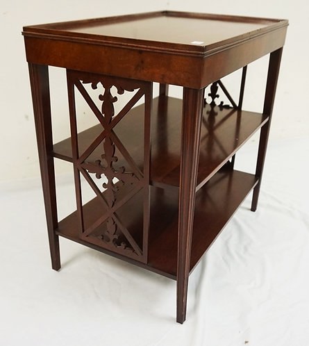 MAHIGANY END TABLE WITH 3 TIERS AND CUTWORK DECORATED PANELS ON EACH END. 22 X 1