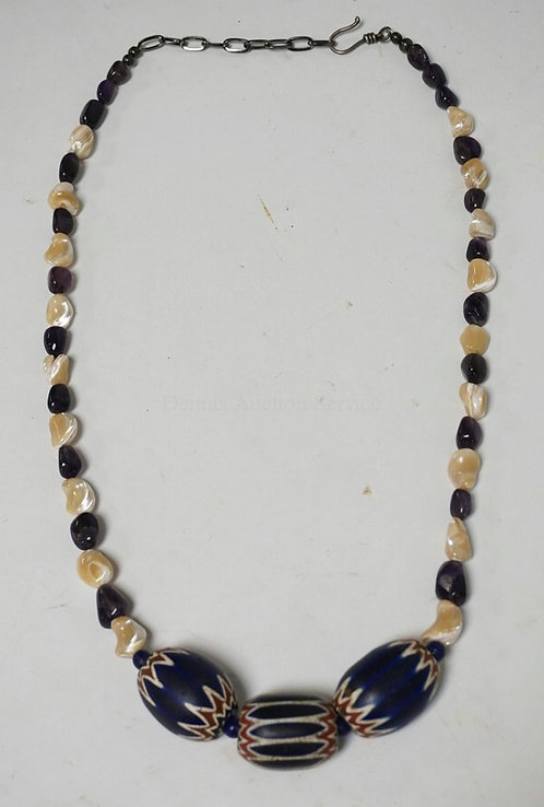 BEADED NECKLACE HAVING 3 LARGE ANTIQUE 6 LAYER CHEVRON BEADS, MARIS MOTHER OF PE