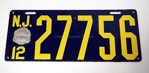 1912 NEW JERSEY PORCELAIN ENAMEL LICENSE PLATE. HAS SOME NICKS, MOSTLY ON THE ED