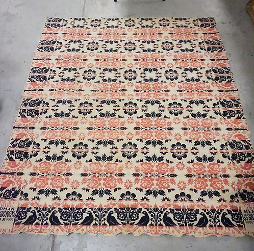 1841 COVERLET BY *DANIEL - GOODMAN NESCOPECK, LUZERNE CO*. DECORATED WITH BIRDS