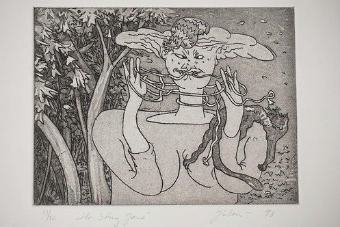 GLADYS NILSSON (BORN 1940) *THE STRING GAME* ETCHING. EDITION #13/40. 7 7/8 X 5