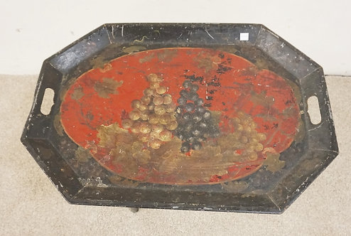 OCCASIONAL TABLE WITH A HAND PAINTED TOLE TRAY TOP ON A FOLDING WOODEN BASE. 26