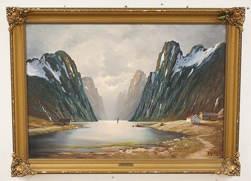 KARE FJELLBERG OIL PAINTING ON CANVAS OF A SMALL SAILBOAT DWARFED BY A FJORD. SI