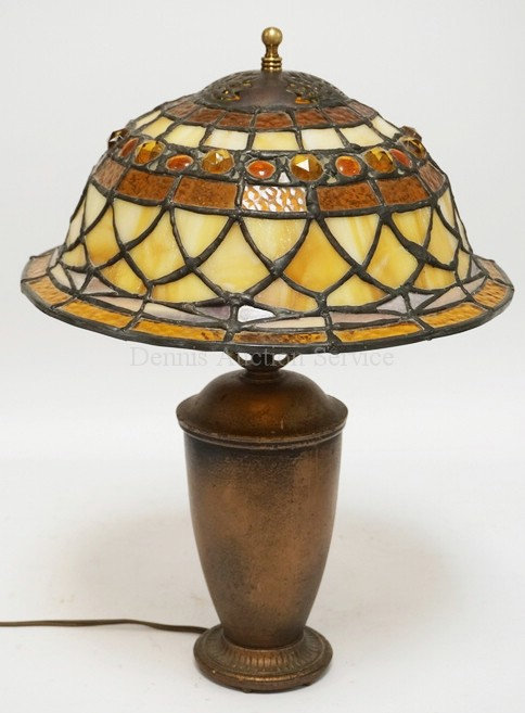 *THE BISHOP LAMP* IRON BASED LAMP WITH A LEADED SHADE. 17 1/4 INCHES HIGH.