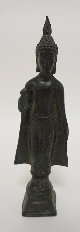 ASIAN BRONZE FIGURE. 8 3/4 IN H, BASE CEMENT FILLED