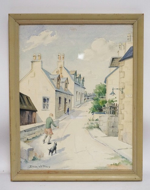 ELSA W. BLEY WATERCOLOR PAINTING OF A MAN AND HIS DOG WALKING ON TOWN ROAD. 11 1