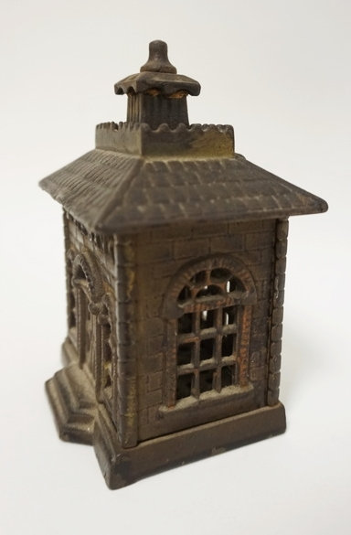 CAST IRON *STATE BANK* STILL BANK. 5 1/4 INCHES HIGH.