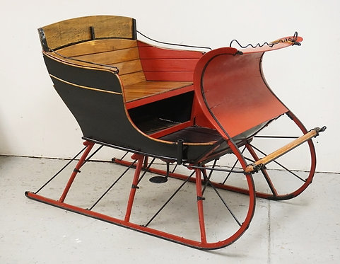 1017_ANTIQUE HORSE DRAWN SLEIGH MEASURING 70 INCHES LONG. 41 INCHES WIDE.