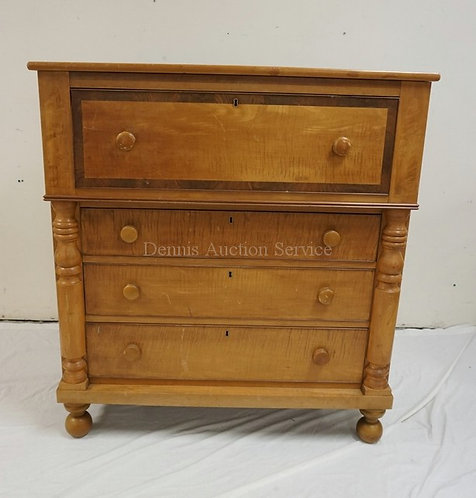 ANTIQUE EMPIRE 4 DRAWER CHEST WITH TIGER MAPLE DRAWER FRONTS AND TURNED HALF COL